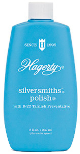Hagerty Silversmiths' Polish: A gentle, liquid silver polish that cleans, polishes, and prevents tarnish on sterling silver plate, and gold. Can be rinsed or buffed away.