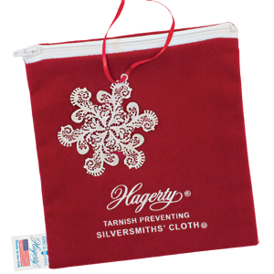 Hagerty Ornament Keeper: stores and protects silver Christmas ornaments in a zippered bag made of tarnish preventing Hagerty Silversmiths' Cloth.
