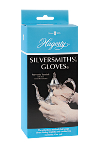 Hagerty Silversmiths' Gloves: machine washable gloves treated with tarnish preventing Hagerty Silversmiths' Polish. Retreatable.