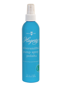 Hagerty Silversmiths' Pump Spray Polish with R-22 Tarnish Preventative is packaged in an environmentally friendly non-aerosol container.