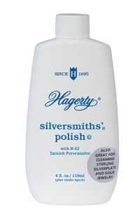 Hagerty Silversmiths' Polish for Jewelry: A gentle, liquid silver polish that cleans, polishes, and prevents tarnish on sterling silver plate, and gold. Can be rinsed or buffed away.