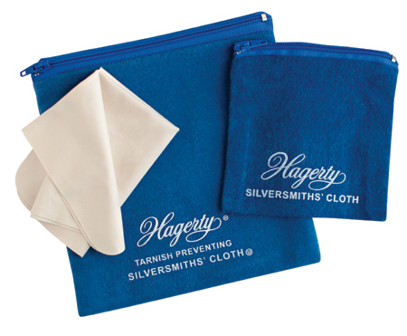 Hagerty Forever New Jewelry Storage Kit: Two zippered storage pouches prevent tarnish and one microfiber cloth wipes away dirt and oil
