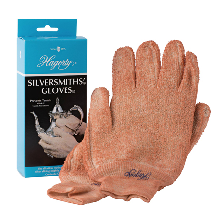 Hagerty Silversmiths' Gloves: machine washable gloves treated with tarnish preventing Hagerty Silversmiths' Polish. Retreat after washing.