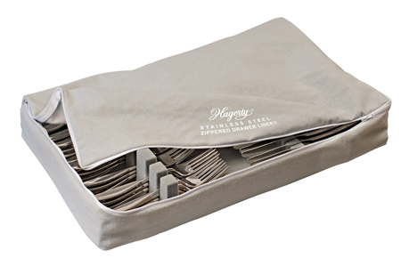 Hagerty Stainless Steel Zippered Flatware Storage Drawer Liner: stores and organizes up to 120 pieces of fine 18/10 and 18/8 stainless steel flatware pieces.