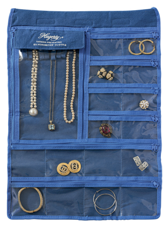 Tarnish Preventing Jewelry Keeper: Double sided hanging jewelry organizer with 35 pockets