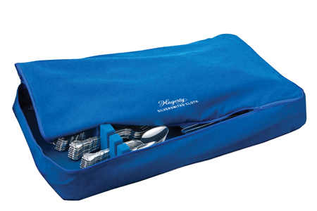 Hagerty Zippered Flatware Storage Drawer Liner: Tarnish preventing storage for 120 pieces of sterling, silver plate, or gold flatware.