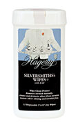 Hagerty Silversmiths' Wipes: Dry, disposable wipes for sterling, silver plate, and gold that remove and prevent tarnish.